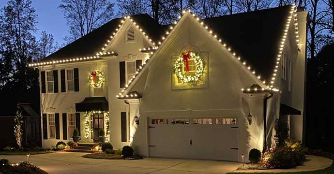 House decorated with Holiday Decorations and Lights